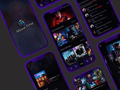 Movie app prototype typography icon branding xd design illustration photoshop logo uiux mobile ui mobile app website