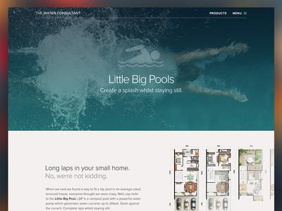Product Marketing Page web marketing landing pools water swim swimming design