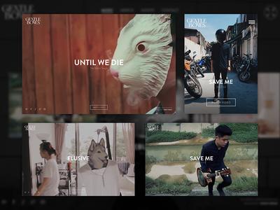 Gentle Bones - Official Website video background interactive ui ux web design music portfolio design