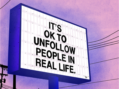 ITS OK TO UNFOLLOW PEOPLE IN REAL LIFE ! ui procreate typography vector minimal illustrator flat illustration design art