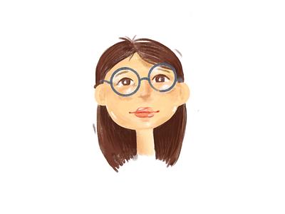 Girl face sketch teenager cute rebound illustraion girl