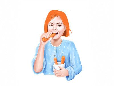 Girl With Carrots teenager illustraion procreate procreateapp eating cup carrot carrots girl character