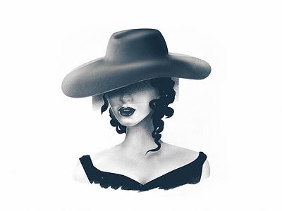'Veiled lady' hand-drawn illustration procreate illustration hand drawn beauty veil veiled lady woman portrait portrait woman