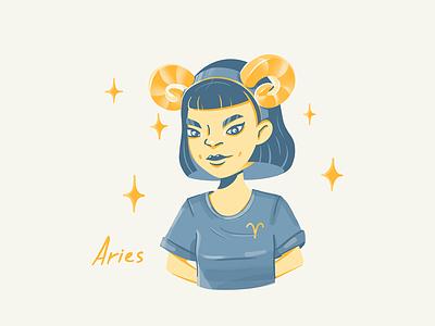 Aries characterdesign rebound illustration stars girl zodiac sign aries character