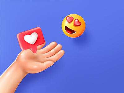 'fake 3D' illustration procreate 3d instagram heart smiley smile like hand illustration