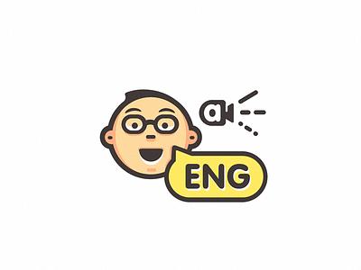 """Smart boy' character glasses face english speak mascot app boy smart character"