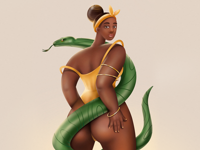 DTIYS woman 3d procreateapp dtiys snake girl character procreate illustraion