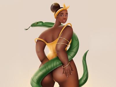 DTIYS woman 3d procreateapp dtiys snake girl character procreate illustraion
