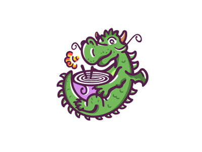 Little dragon with a bowl of ramen
