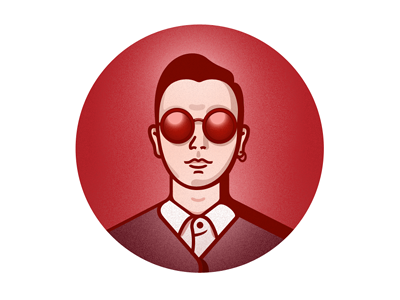 Theo red sunglasses face portrait man
