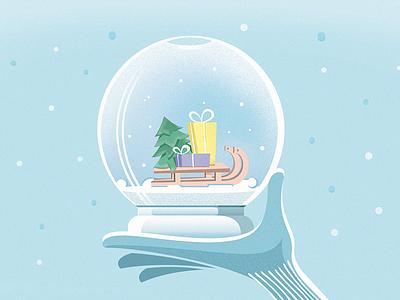 Happy New Year! glove hand snowglobe sleigh gifts snow winter newyear