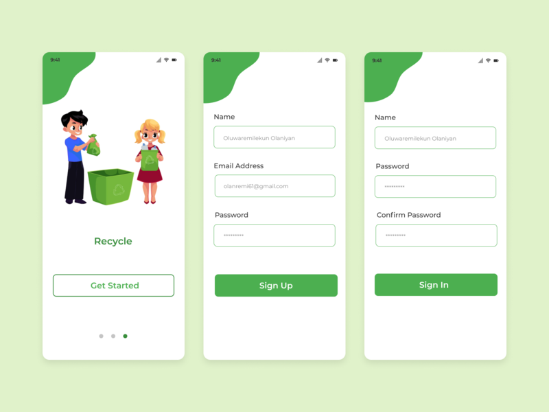 Recycle App design ux ui