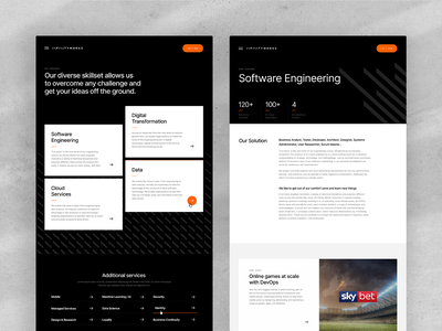 Infinity Works Internal Pages branding website webdesign texture slick ux ui clean white black minimal