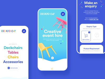 """Decked Out"" Playful Landing Page c4d 3d wip mobile ui minimal concept interior decor landing page colorful playful webdesign ui"