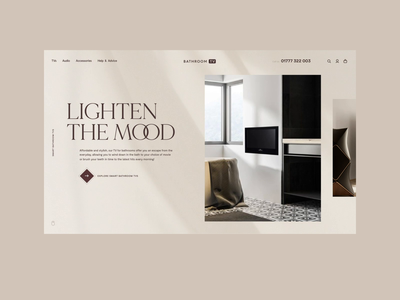 BathroomTV Refresh - Light Concept product web ux ui minimal typography branding ecommerce ambient after effects motion light texture interface brand
