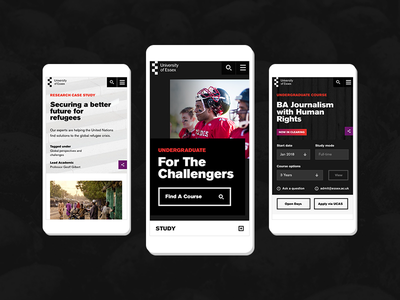 University of Essex - Mobile Designs. responsive mobile typography gradient branding layout ux ui digital case study website