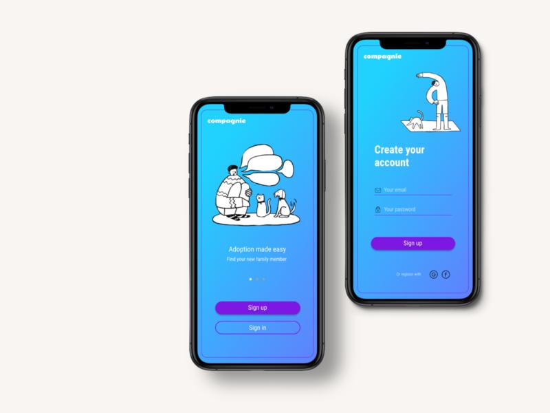 Adoption App - Compagnie. illustrator app logo illustration ux ui minimal design