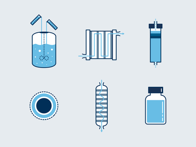 mRNA Manufacturing Process Illustrations vector technical illustrations illustration