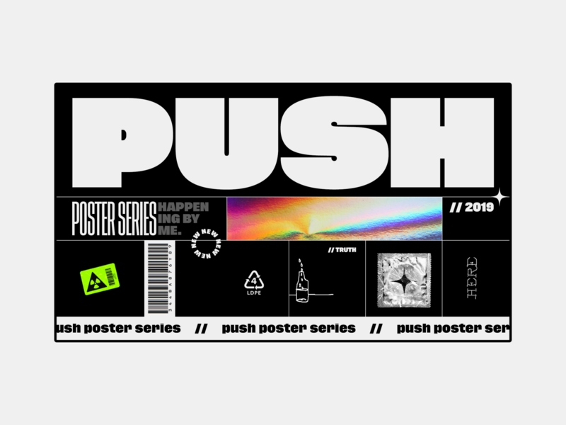 PUSH  //  poster series branding vector truth here condom doodle icon gradient illustration typography design concept series poster