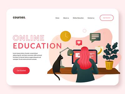 Online Education Platform Illustration language learning learning platform learning studying cat online education online website ux design flat vector minimal illustrator illustration