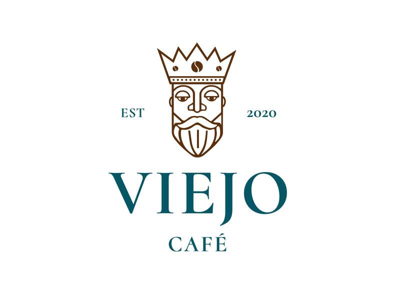 Viejo Café branding man king isologotipo brand typography illustration design logo coffeeshop coffee
