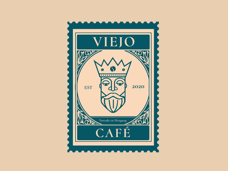 Viejo Café stamp stamp design branding illustration