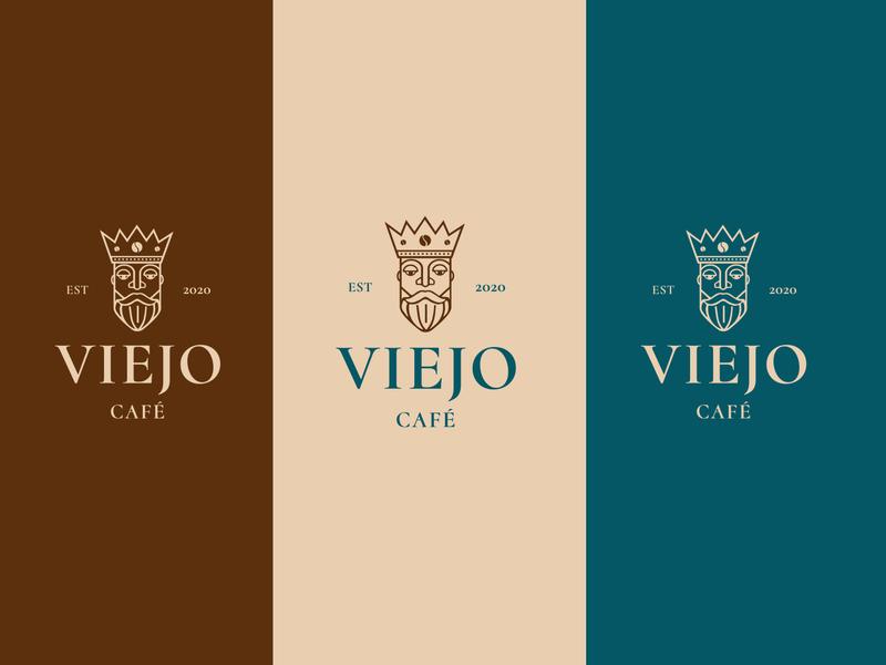 Viejo Café typography brand coffee king man isologotipo illustration design coffeeshop branding