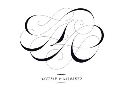 A+A Monogram lettering calligraphy type logotype logo invitation monogram