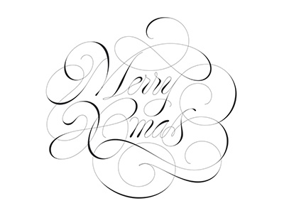 Xmas cursive elegant script logotype logo spencerian copperplate handmade calligraphy lettering