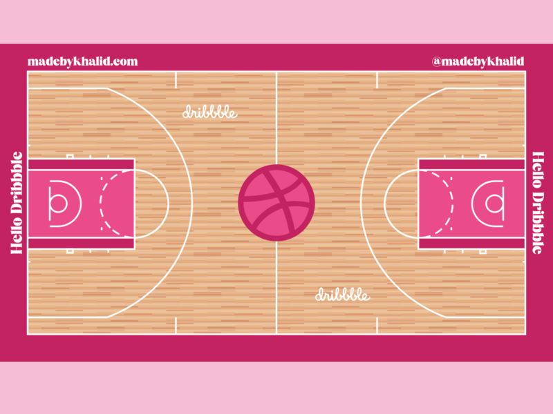 Hello Dribbble illustration typography vector design first shot nba basketball court basketball hello dribble hello dribbble