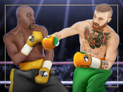 Mayweather vs. McGregor Illustration digital painting drawing mcgregor mayweather boxing illustration sports art