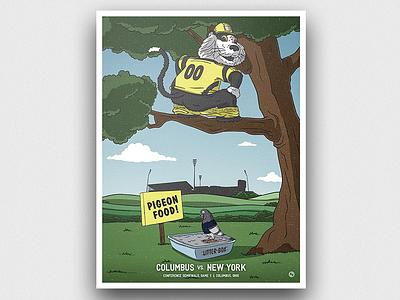 Matchday Poster - Crew SC vs. NYCFC nature poster illustration cartoon espn bird cat goal football soccer