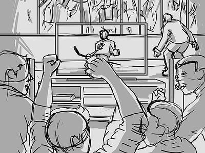 CBJ-FSO Poster - Process Sketch tv cheer celebrate goal hockey sports illustration cartoon