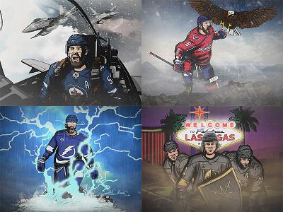 NHL Player Illustrations - Conference Finals illustration eagle canada knight vegas lightning capitals jets nhl hockey poster sports