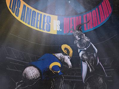 Super Bowl LIII - Rams vs. Patriots patriots rams nfl football digital art poster illustration comic print art