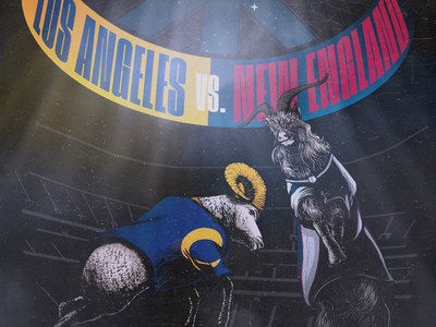 Super Bowl LIII - Rams vs. Patriots patriots rams nfl football digital art poster illustration comic print art