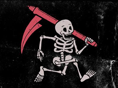 Reaper of Invoices screenprint retro vintage icon badge brand identity mark skulls skull and crossbones skeleton illustration art branding print drawing logo vector design