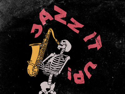 Jazz It Up jazz skeleton typography identity digital cartoon logo branding brand sketch design screen print poster drawing print art illustration