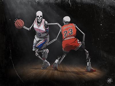AI vs. Jordan - 03.12.97 nba basketball brand sketch screen print poster sports print art illustration