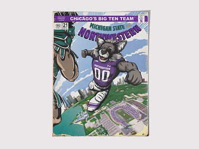 NU vs. MSU Program Cover/Poster football branding comic brand screen print poster drawing art sports illustration