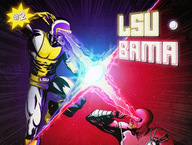 Game of the Century 2.0 - LSU vs. Bama alabama lsu sports drawing football xmen marvel comic branding design art illustration