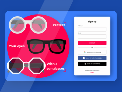 Sunglasses Store sign-up page Concept playoff illustration soft shadows vector store design glasses concept adobe xd