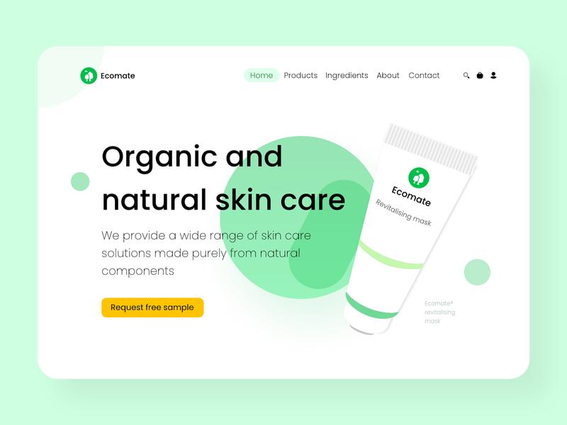 Ecomate -  Landing page negative space organic nature clean concept design branding cosmetics concept flat web website website design minimal
