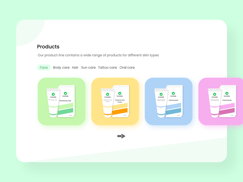 Ecomate -  Products Section concept store design ui work in progress soft minimal minimalism cosmetics product listing product cards card