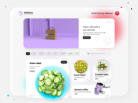 Discovery Page UI/UX Concept - Owlivery v.2 | Work in Progress work in progress minimal store design website design concept store homepage design card design coffee cup food delivery salad web design ux ui ui food blur 3d model