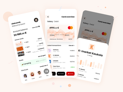 Banking App Design - Part 1 abstract adobexd cute minimal banking app bank app bank card banking bank ux ui icons mobile ui adobe mobile home screen design application app design app