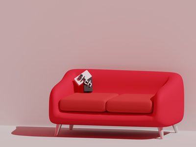 Sofa couchsurfing branding logo room illustration interior cartoons furniture blender 3d blender3d cycles blender 3d sofa couch