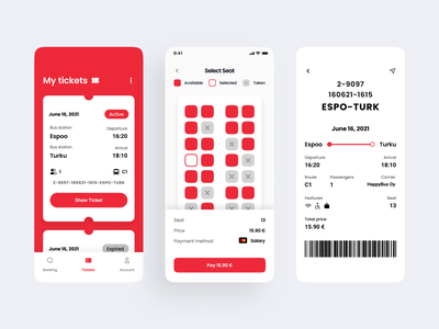 Ticket Booking App - Day #2 seat bus app mobile travel uiinterface red concept clean bus ticket booking ticket app ticket ios mobile app app booking app booking work in progress tickets minimal