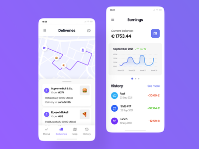 Courier Delivery App - Day 1 [WIP] ios data visualization list money order ui delivery app food delivery map courier delivery concept clean minimal mobile mobile ui mobile app ui design ui ux interface