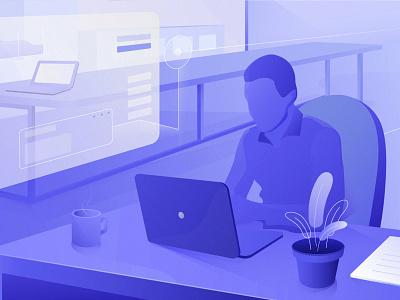 Workspace of HiPool vector branding pool illustration ui illustrator design